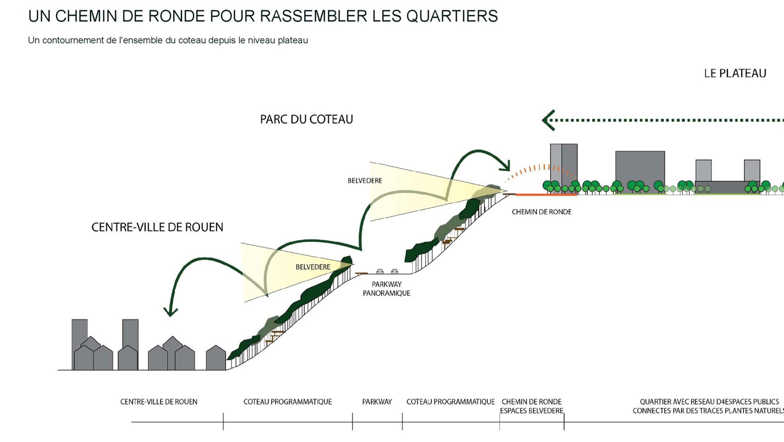 Coupe sur les traitements paysagers  - Renouvellement urbain des Hauts de Rouen
