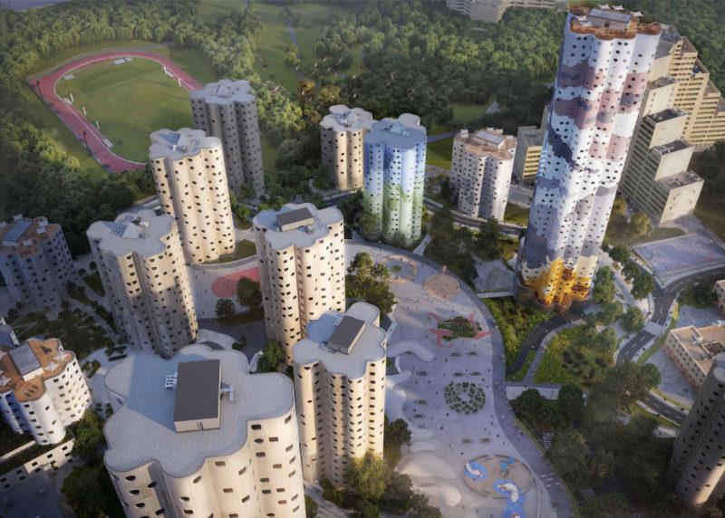 Pivot réanimé entre le dispositif urbain imaginé par Emile Aillaud « le serpent », le parc et la Défense.  - Reconversion des tours Nuages, Nanterre