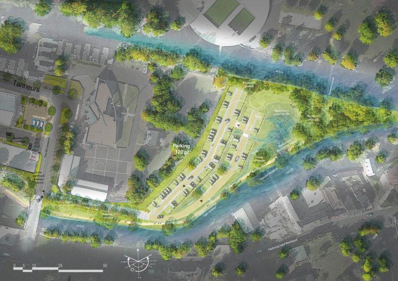 Le parc de stationnement dans le site  - Aménagement en site inscrit au bord du Loir, Vendôme