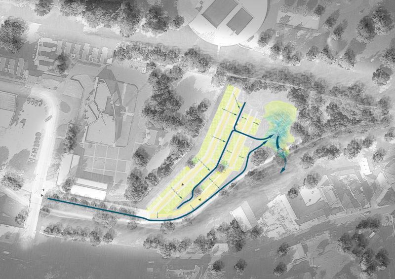 Principe de gestion des Eaux pluviales  - Aménagement en site inscrit au bord du Loir, Vendôme