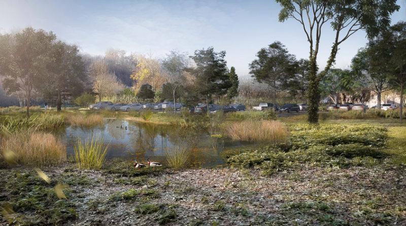 La zone humide de retenue  - Aménagement en site inscrit au bord du Loir, Vendôme